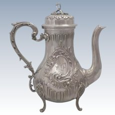 Luxurious Antique 1880s French all sterling silver coffee/tea pot of Rococo style by Alexandre Vaguer (from 1884)