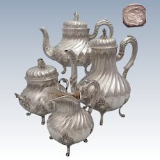 Complete Antique 1890s French all sterling silver tea & coffee pot set 4 pc of Rococo style 71,8 oz