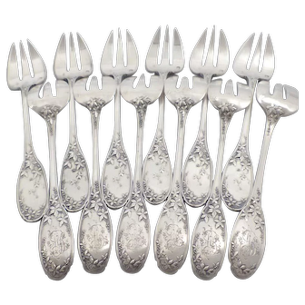Antique 1900s French sterling silver oyster/dessert forks set of 12 pc Art Nouveau style