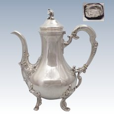 Elegant antique 1880s French all sterling silver coffee/tea pot of Rococo style by Henri SOUFFLOT (Active 1884-1910)