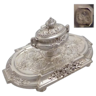 TETARD : Luxurious antique 1880s French all sterling silver desk inkwell Louis XVI style