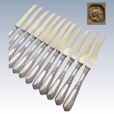 Antique 1890s French sterling silver and vermeil dessert /fruit knives set of 12 pieces by Louis COIGNET (active 1889-1893)