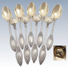 Antique 1900s French sterling/solid silver & gold 18k vermeil coffee/tea spoons set of 9 pc