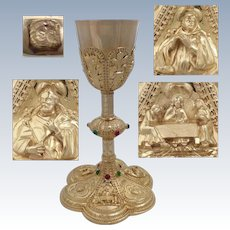 Antique 1880s French all sterling silver gold 18k vermeil embossed catholic chalice