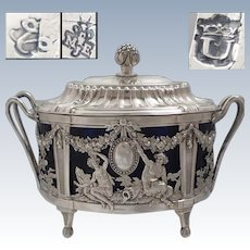 Rare antique 18th century French openwork sterling silver sugar bowl PARIS 1783 by Marc-Etienne JANETY (active 1777-1793)