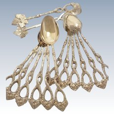 Antique 1880s French all sterling silver gold 18k vermeil coffee spoons & sugar tong set of 13 pc