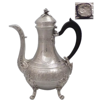 Fine Antique 1870s French guilloche sterling silver tea/coffee pot Napoleon III style by PAILLARD Frères (active 1868-1888)