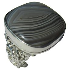 Sterling Silver Square Grey Agate Unisex Ring
