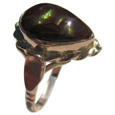 9 kt Pink and Yellow Gold Pear Shape Fire Agate Ladies Ring