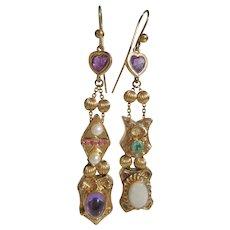 14 kt Gold Vintage Inspired Gemstone Slide Earrings