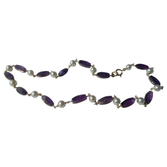 9 kt Gold Amethyst and Freshwater Pearl Choker Necklace