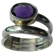 Sterling Silver Oval Faceted Amethyst Unisex Ring