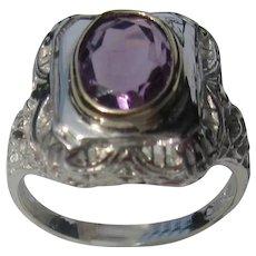 Sterling Silver Amethyst Filigree Ladies Ring