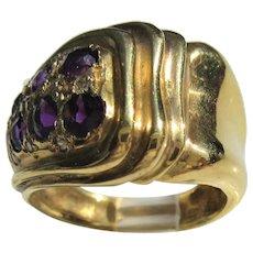 18 kt Yellow Gold Amethyst Diamond Ladies Ring