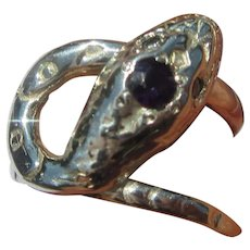 Amethyst and Cubic Zirconia Sterling Silver Snake Ring