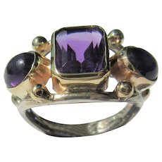 Sterling Silver 9kt Yellow Gold Triple Amethyst Ladies Ring