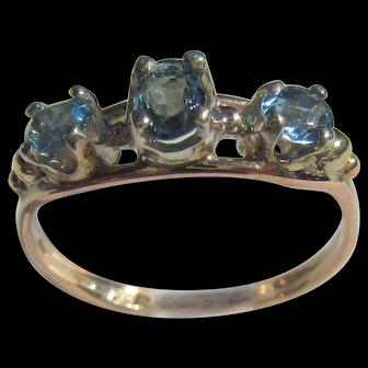 9kt Pink Gold Triple Aquamarine Ladies Ring