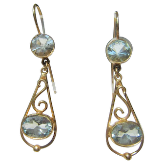 14 kt Gold Aquamarine Dangle Earrings French Wire Closure
