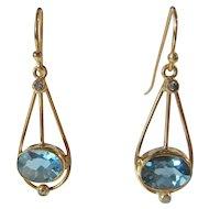 9 kt Gold Blue Topaz and Diamond Dangle Earrings