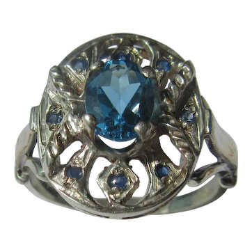 Sterling Silver and 9 kt Yellow Gold Blue Topaz and Multi Sapphire Ladies Ring