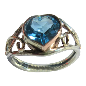 Heart Shape Blue Topaz Silver/Pink Gold Ladies Ring