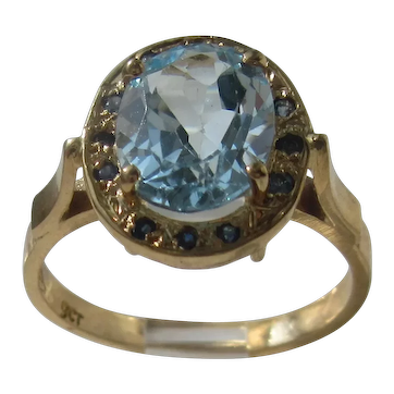 Blue topaz and Sapphire Gold Ladies Ring