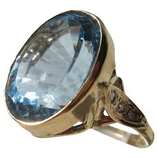 Large Oval Blue Topaz and Diamond Ladies Ring