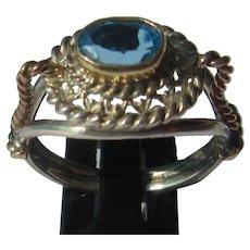 Silver/9kt Gold Blue Topaz Ladies Ring