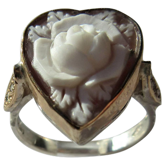 Sterling Silver Carved Shell Rose Cameo and Diamond Ring