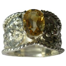 Light Yellow Citrine  Sterling Silver Floral Ring