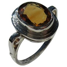 Sterling Silver Oval Citrine Ladies Ring