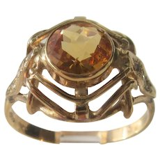 9 kt Gold Round Multi Faceted Honey Golden Citrine And Diamond Ladies Ring