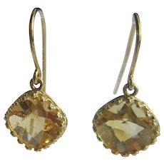 14 kt Yellow Gold Cushion Cut Citrine Dangle Earrings