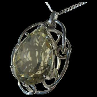 Pear Shape Lemon Citrine Silver Pendant with Chain