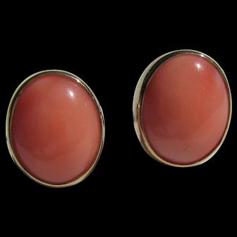 14kt Gold Oval Angel Skin Coral Stud Earrings
