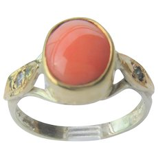 Sterling Silver and 9 kt Yellow Gold Angel Skin Coral and Diamond Ladies Ring
