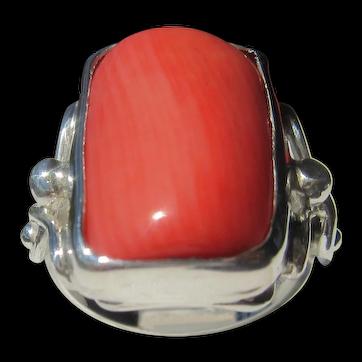 Rectangular Bamboo Coral Silver Ladies Ring