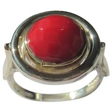 Sterling Silver & Gold Round Coral Sea Bamboo Ring