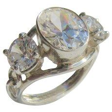 Sterling Silver Triple Cubic Zirconia Ladies Ring