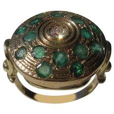 14 kt Yellow Gold Circular Multi Emerald and Diamond Ladies Ring