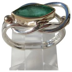 Ocular Emerald Ladies Ring Sterling and Gold