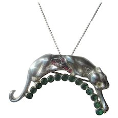 Emerald, Ruby and Diamond Cougar Brooch/Pendant with Chain