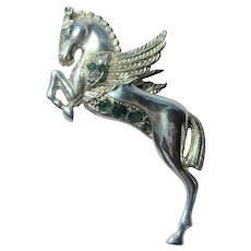 Sterling Silver Pegasus with Emerald and Cubic Zirconia Brooch