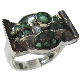 Multi Emerald Sterling Silver/9 kt Pink Gold Ladies Ring