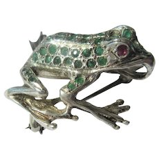 Sterling Silver Multi Emerald and Ruby Frog Brooch and Pendant