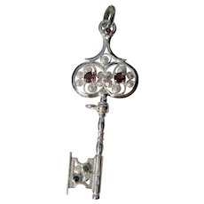 Multi Gemstone Key Sterling Silver Pendant