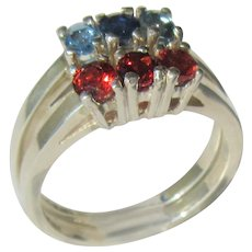 Sterling Silver Multi Gemstone Double Stacking Rings, Garnet, Blue Topaz and Sapphire