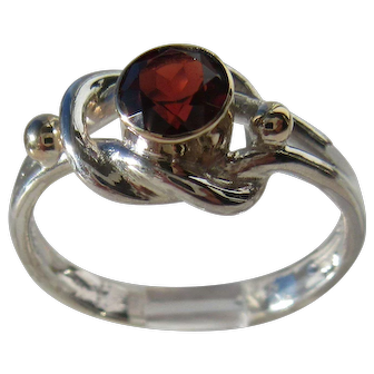 Sterling Silver Round Garnet Ladies Ring