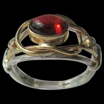 Silver/Gold Almandine Garnet and Diamond Ladies Ring