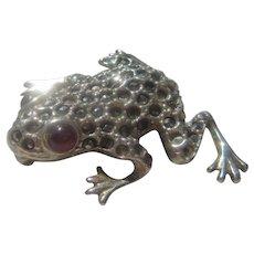 Marcasite & Garnet Frog Brooch